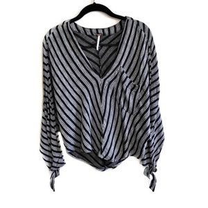 Free People striped dolman sleeve v neck top